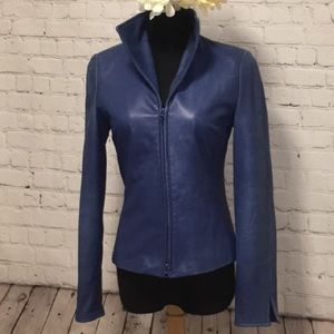 💙 DANIER Blue Leather Bomber Jacket